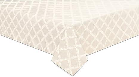 Amazon Com Lenox Laurel Leaf 70 X104 Oval Tablecloth White Home Kitchen