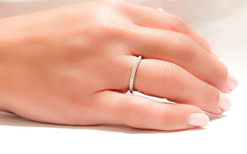 half eternity ring silver SALE engagement ring Thin Micro Pave ring Clear cz ring sterling silver 925 diamonds band