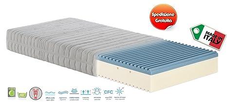 Materassimemory - Materasso Singolo Memory Foam Onda, misura 90x200 H21 cm,  rivestimento sfoderabile