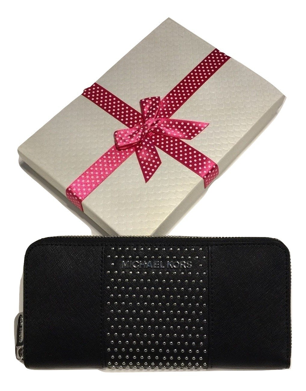 Michael Kors Jet Set Travel ZA Continental Micro Stud Wallet (Black)
