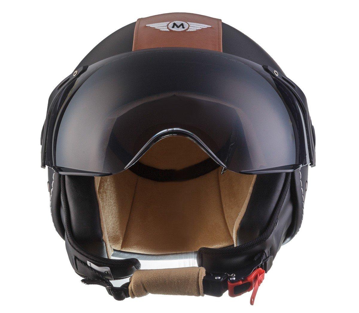 59-60cm L Blanc Mat Moto Helmets H44 Bobber Vintage Chopper Demi-Jet Helmet Scooter Chopper Pilot Retro Biker Vespa Moto Mofa Casque Jet Cruiser