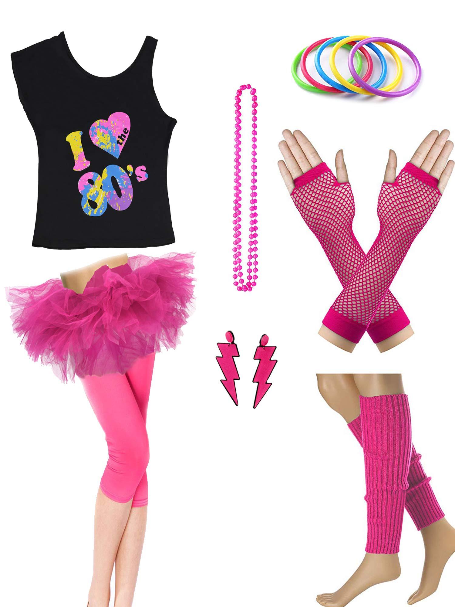 Dorigan Womens 80s Neon Rainbow T-Shirt Fancy Outfit Dress Costume Accessories (XL, Hot Pink)