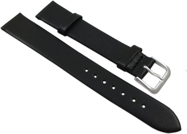 14mm Suave Cuero de Becerro Pulsera de Reloj en Negro con Hebilla en Plata