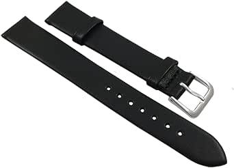 14 mm zacht kalfsleer horlogeband zwart zilverkleurige gesp incl. Myledershop montagehandleiding