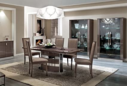 ESF Platinum Slim High Gloss Silver Birch Finish Dining Room Set 8 Pcs Made  In Italy