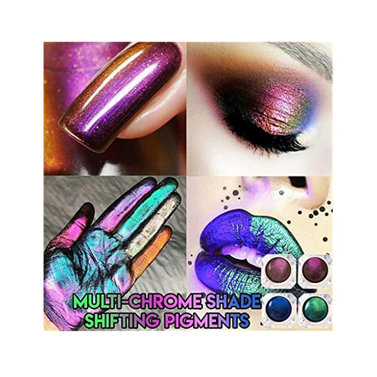 SUGEER Glitter Shadow Shadow Monochrome Eye Shadow Unique Glitter Eyeshadow Powder- Highly Pigmented - Waterproof & Long-Lasting - Vegan & Cruelty Free