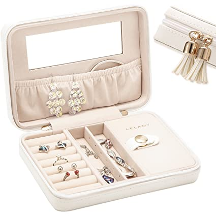 5abd63142 Amazon.com: JL LELADY JEWELRY Small Jewelry Box Organizer Travel Jewelry  Case Portable Faux Leather Jewelry Boxes Storage Case with Mirror for Women  Girls ...