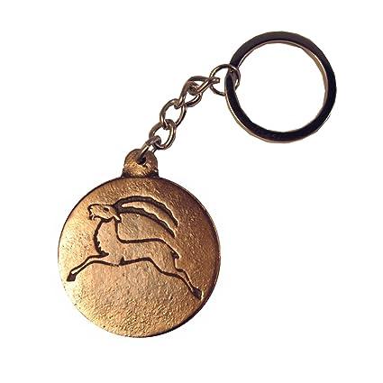 Llavero signo del zodiaco Capricornio bronce 4 cm noble patina marron