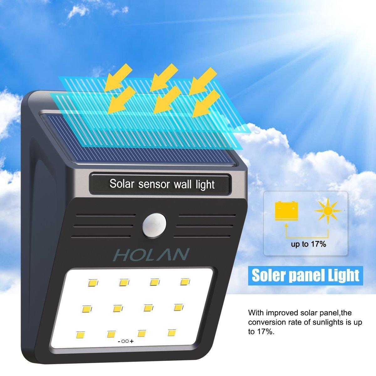 Solarleuchte mit Bewegungsmelder, Soft Digits 12 LED Solar ...