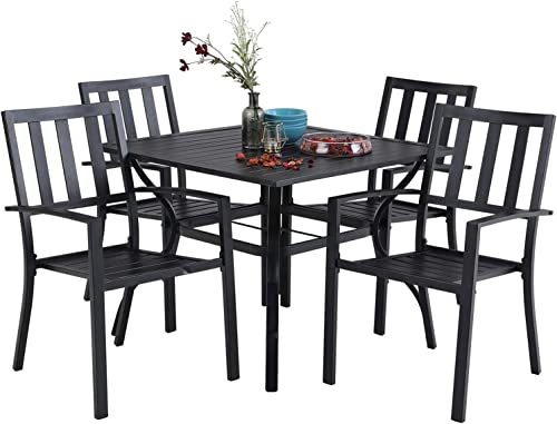 PHI VILLA 5 Piece Metal Patio Dining Set 37″ Square Patio Bistro Table and Garden Backyard Chair