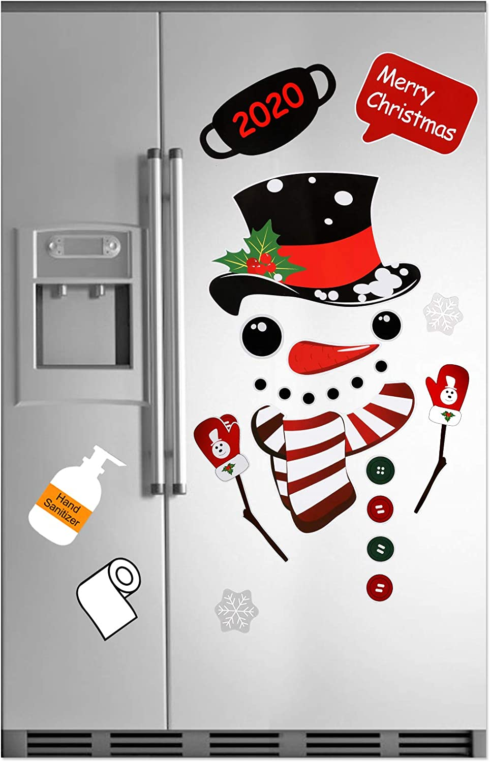 Christmas Snowman Refrigerator Magnets Decorations Set, Cute Funny Fridge Magnet Stickers Xmas Holiday Garage Fridge Kitchen Cute Funny Decor