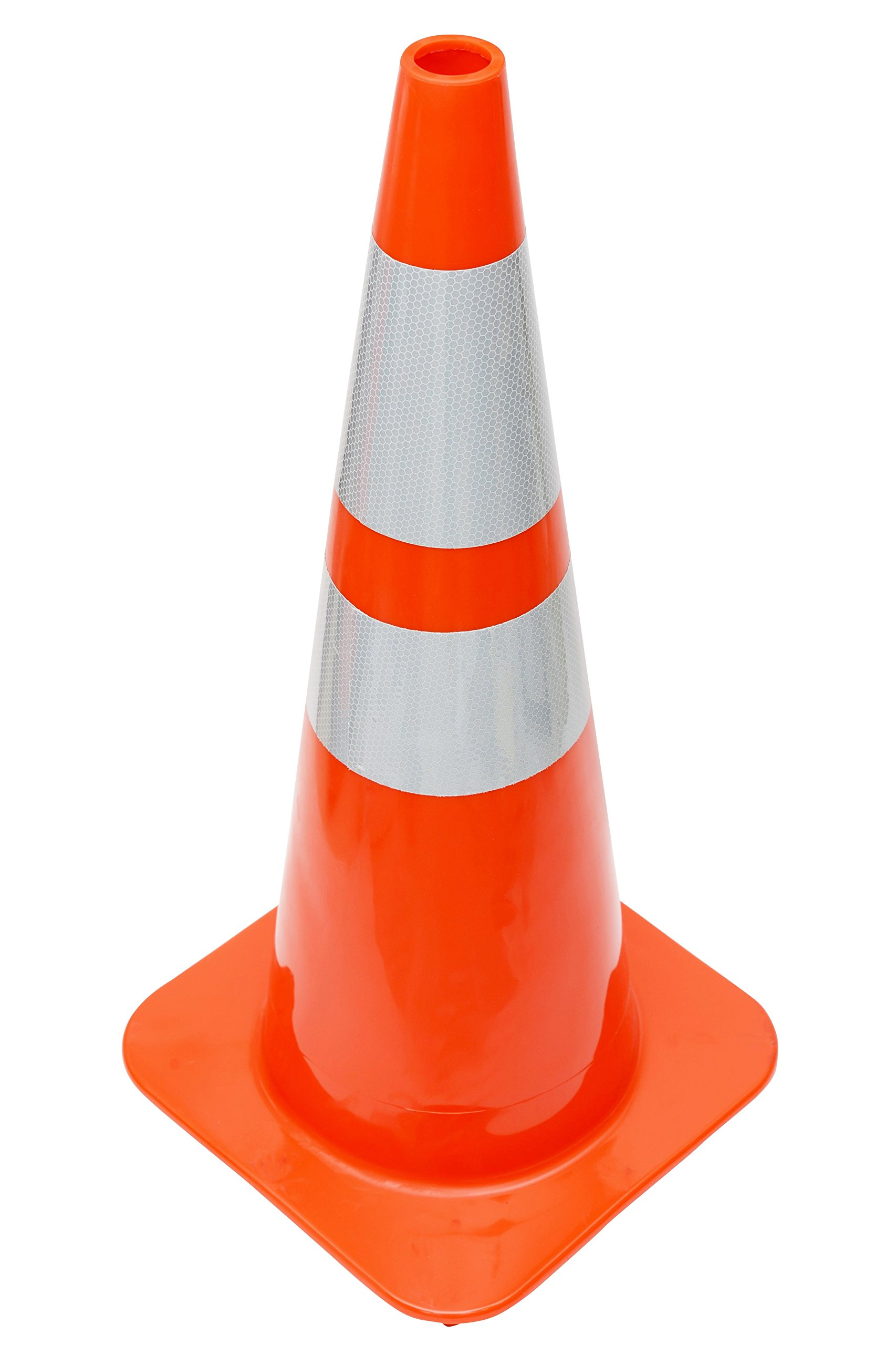 (4 Cones) CJ Safety 28'' Orange PVC Traffic Safety Cones with 6'' & 4'' Reflective Collars (Set of 4)