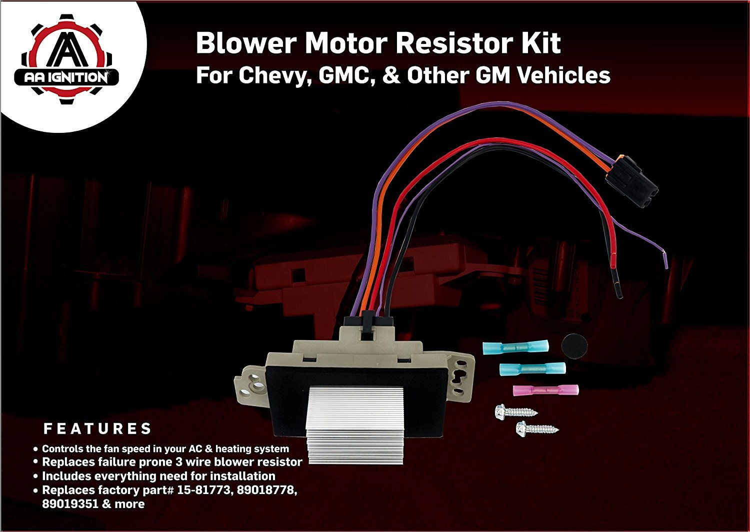 Blower Motor Resistor Complete Kit With Harness 2000 Gmc Sierra Wiring Diagram Replaces 15 81773 89018778 89019351 1581773 Fits Chevy Silverado Tahoe