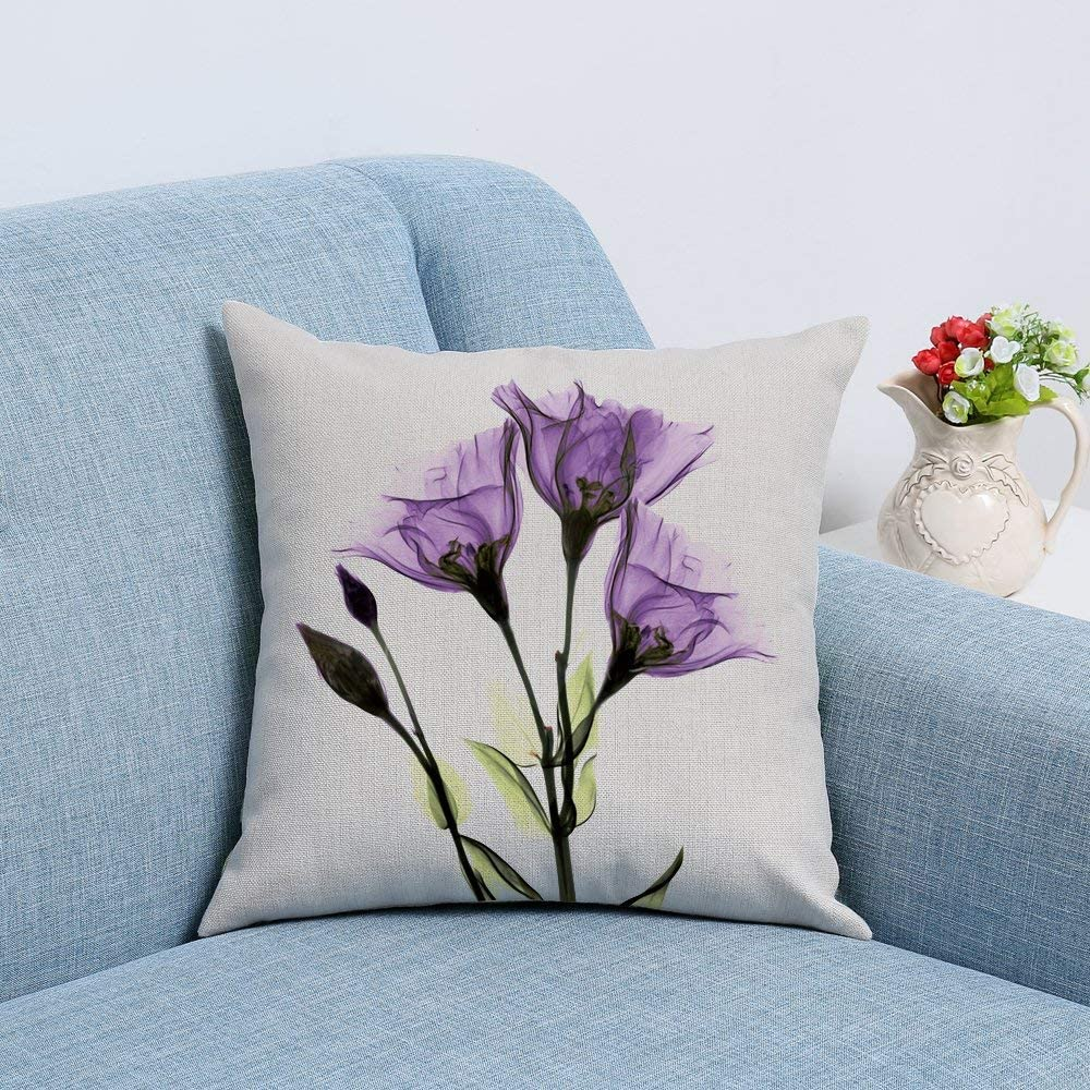 NATURALSHOW Print Elegant Tulip Purple Flower LinenThrow Pillow Cover Sofa Couch Art Painting For Living Room Decor Cushion Cover And Modern Home Decorations Pillowcase