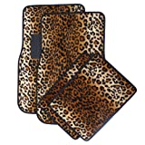OxGord 4pc Set of Leopard Print Auto Floor Mats for
