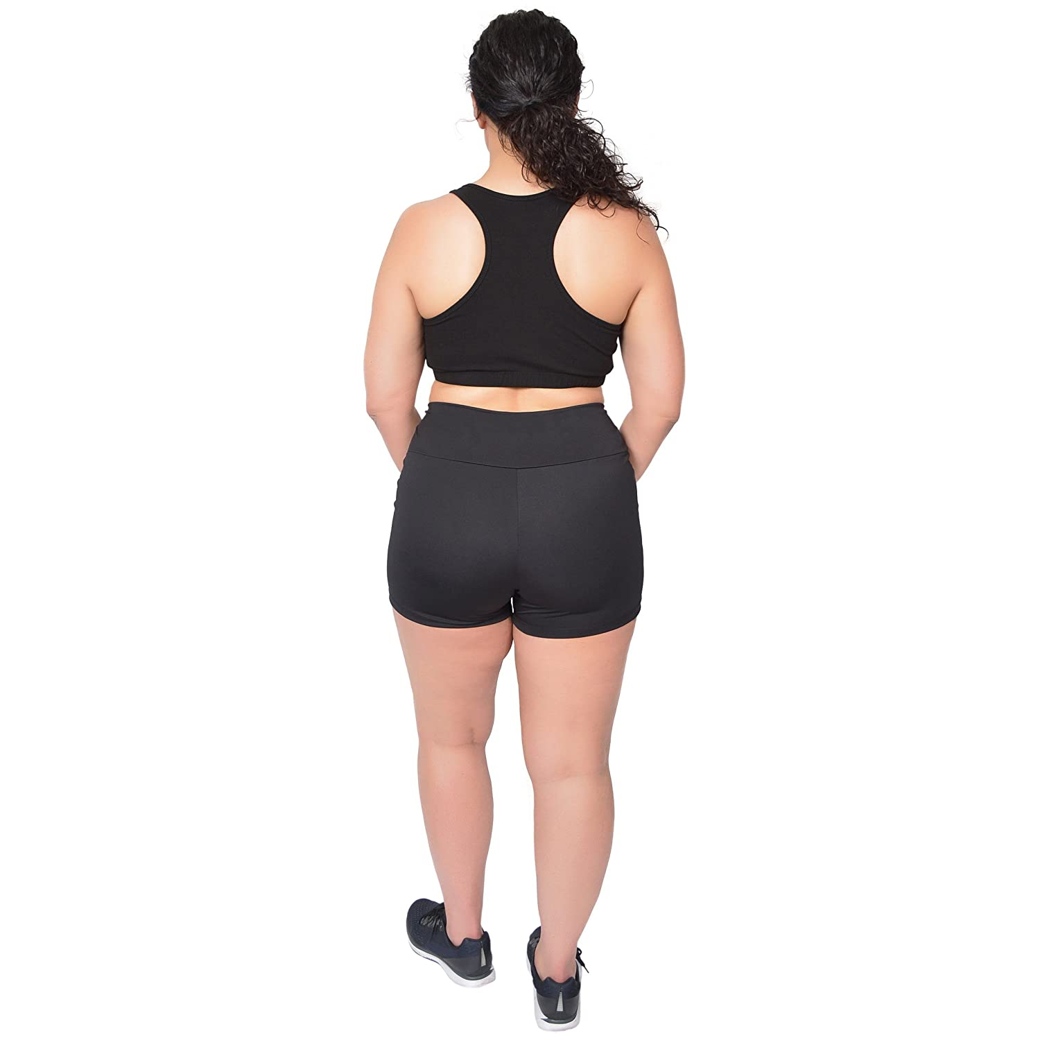06846e436e5 ... Stretch Is Comfort Womens Plus Size Stretch Performance High Waist  Athletic Booty Shorts S0002PS-  ...