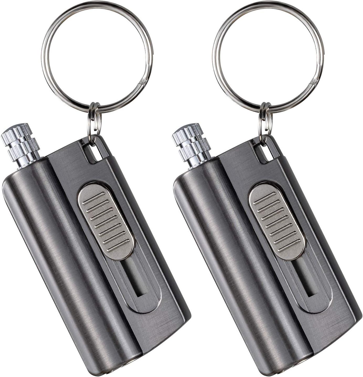 Morisk 2 Pack Permanent Match Keychain, Waterproof Flint Fire Starter Lighter Fluid Refillable, EDC Forever Reusable Firestarter, Never Ending Matches Strike Anywhere for Outdoor Survival Emergency