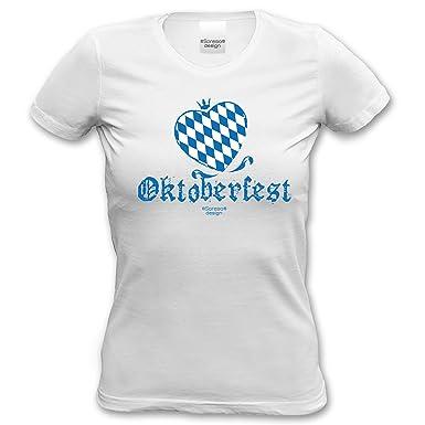 Volksfest Wiesn Shirt tshirt Oktoberfest Herz für Frauen, Damen kurzarm, Rundhals  Farbe: weiss