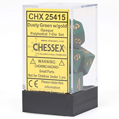 Chessex CHX25415 Dice-Opaque Dusty Green/Copper Set: Toys & Games