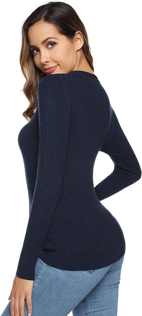 Hawiton - Jersey para Mujer con Cuello en V y Corbata para otoño e ...