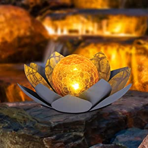 HUAXU Garden Solar Light Outdoor , Amber Crackle Globe Glass Lotus Decoration , Waterproof Gray Metal LED Flower Lights for Patio,Lawn,Walkway,Tabletop,Ground