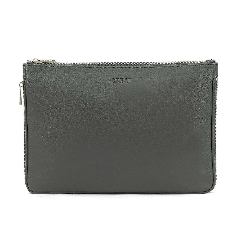 LOTUFF(ロトプ) 6 Color シンプルクラッチバッグクロスバッグレザーバッグレディースLO-3128 メンズ レディース Leather Cross Bag Clutch Bag Shoulder Bag [並行輸入品] B07FHZXTBQ グレー