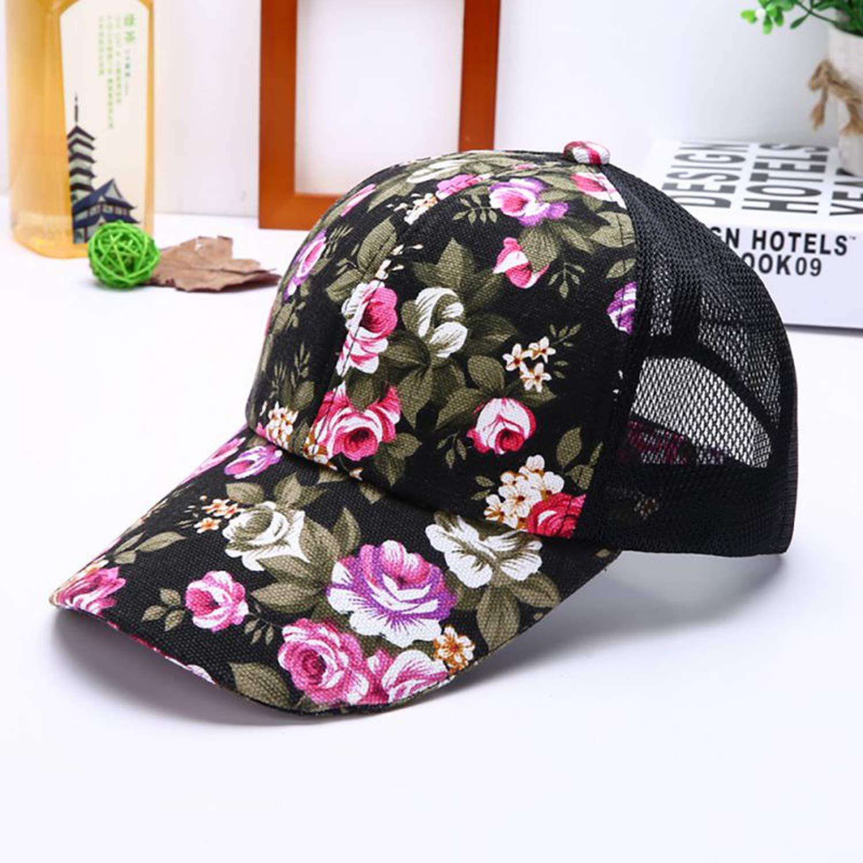 Female Floral Print hat Baseball Cap mesh Cap Spring and Summer Sports and Leisure Sun Visor