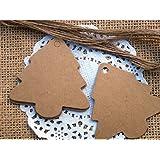Rzctukltd 50pcs Brown Kraft Paper Christmas Tree Gift Parcel Tags Label Luggage + Jute Twine