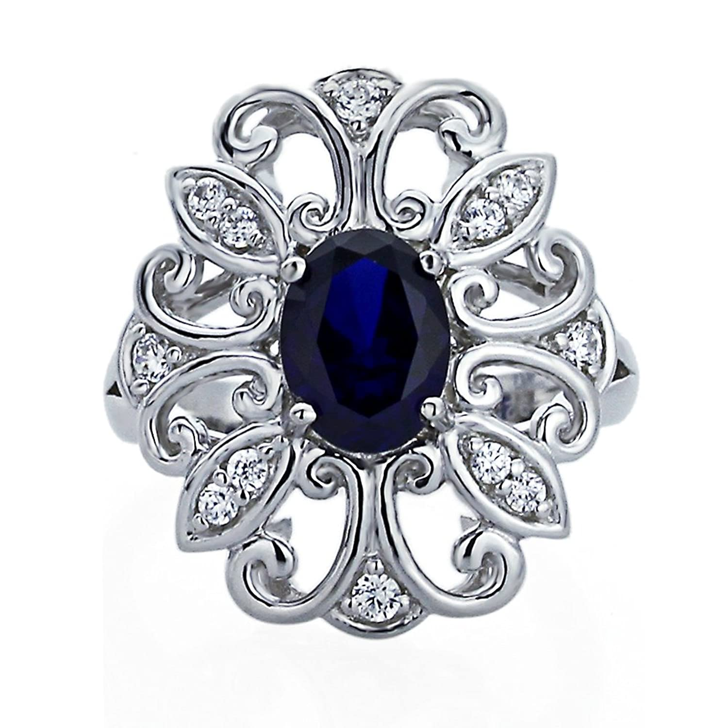 Sterling Silver Art Deco Design 1.25ct Oval Simulated Blue Sapphire CZ Cocktail Ring ( Size 5 to 9 )