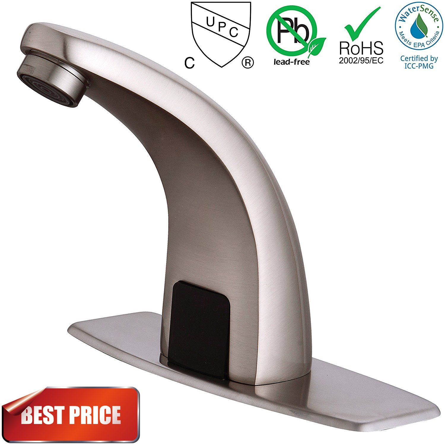 Fyeer Automatic Touchless Sensor Bathroom Faucet, Motion Activated Hands Free Kitchen Sink Tap with Hole Cover Deck Plate, Battery Operated, Brushed Nickel, Hot & Cold Mixer Control, Lead Free