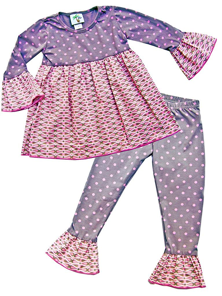 Cheeky Banana Little Girls Babydoll Top /& Ruffle Leggings Grey /& Bubblegum Pink Dot