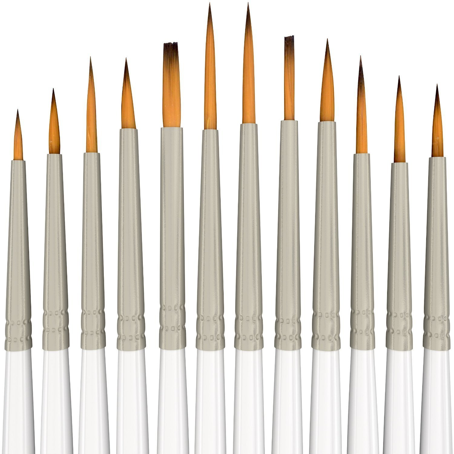Detail Paint Brush Set - 12 Miniature Brushes for Fine Detailing & Art Painting - Acrylic, Watercolor, Gouache, Oil - Models, Airplane Kits, Ink, Warhammer 40k - Artist Quality Supplies by MyArtscape