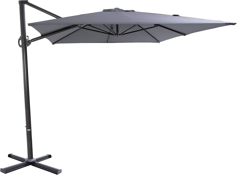 Rectangular Sun Shading Garden Umbrella SORARA ROMA Cantilever Parasol Cross Base Incl Sand 250 x 300 cm