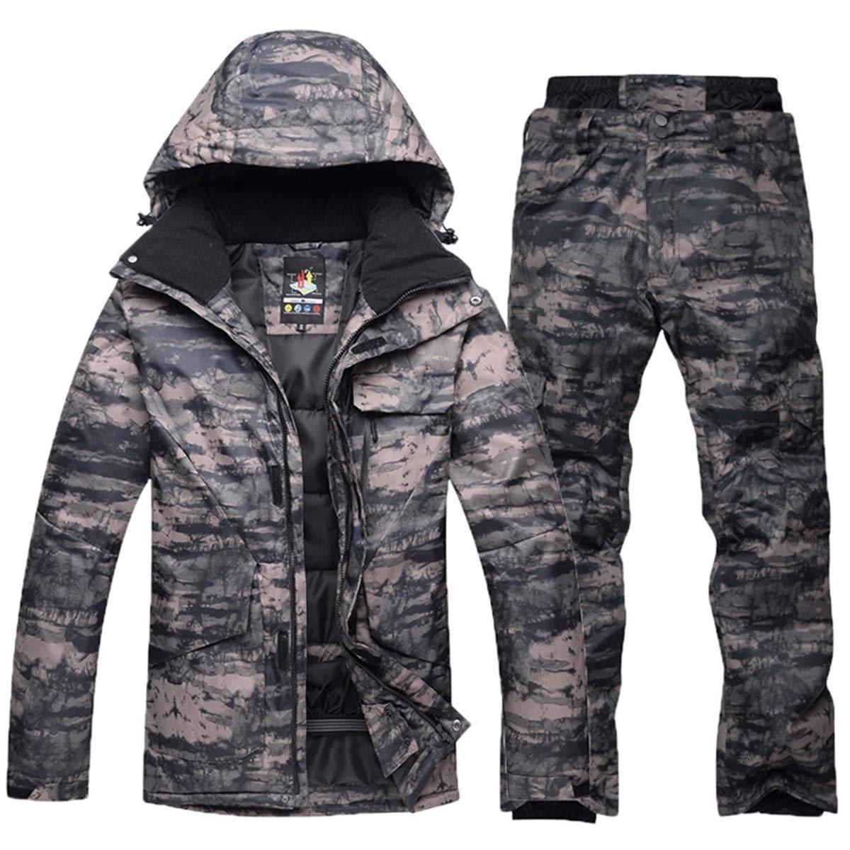 shuibian Herren Skianzüge Winterjacke Kälteschutz Warmhalten Bergsteigeranzug Furnier Doppeldecker Ski Jacket Hose (Camouflage Top 1+ Camouflage Hose 1, L+L)