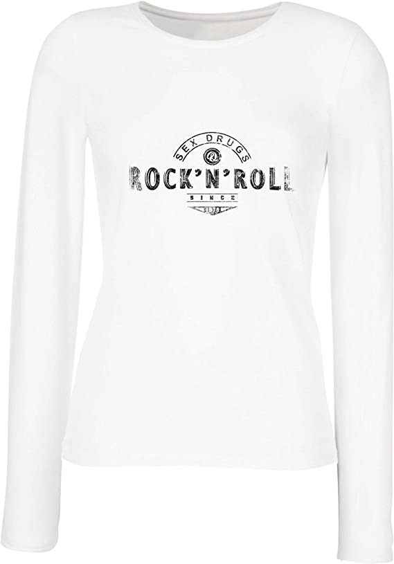 lepni.me Camisetas de Manga Larga para Mujer Sex Drugs and Rock and Roll - 1960s, 1970s, 1980s - Banda de Rock Vintage - Musicalmente - Ropa de ...