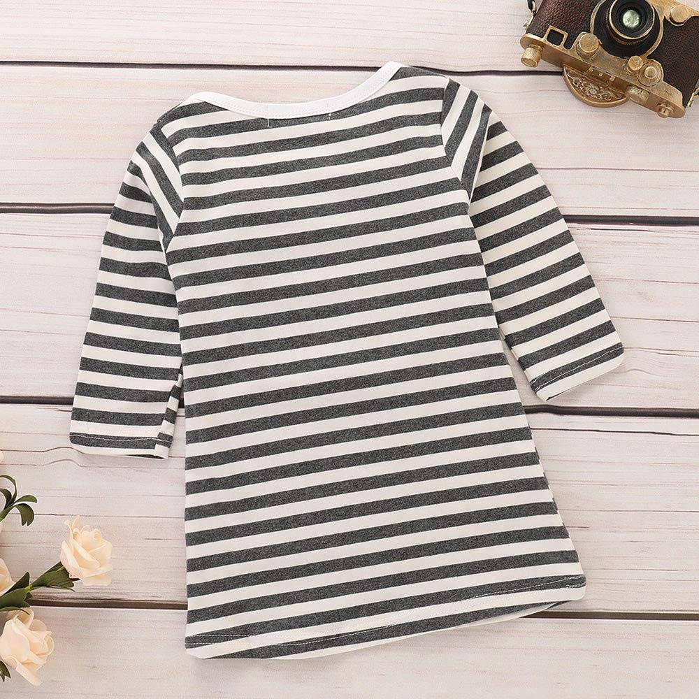 HEHEM Baby Clothes Newborn Outfits Kids Children Kids Girls Infant Toddler Baby Girls Striped Rainbow Print Party Dress Clothes Dresses 0-7 Years Rainbow on The Left