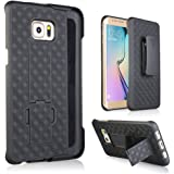 Galaxy S7 Edge Case, Heavy Duty Samsung Galaxy S7 Edge Belt Clip Case Super Slim Hard Shell Holster Clip Cover with Kickstand and Swivel Belt Clip for Galaxy S 7 Edge Cell Phone Black