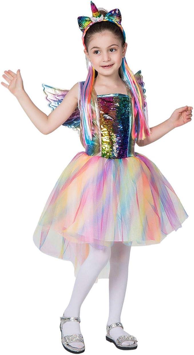 ZED- Disfraz de Rainbow Unicorn Kids Disfraz de Princesa para niña ...