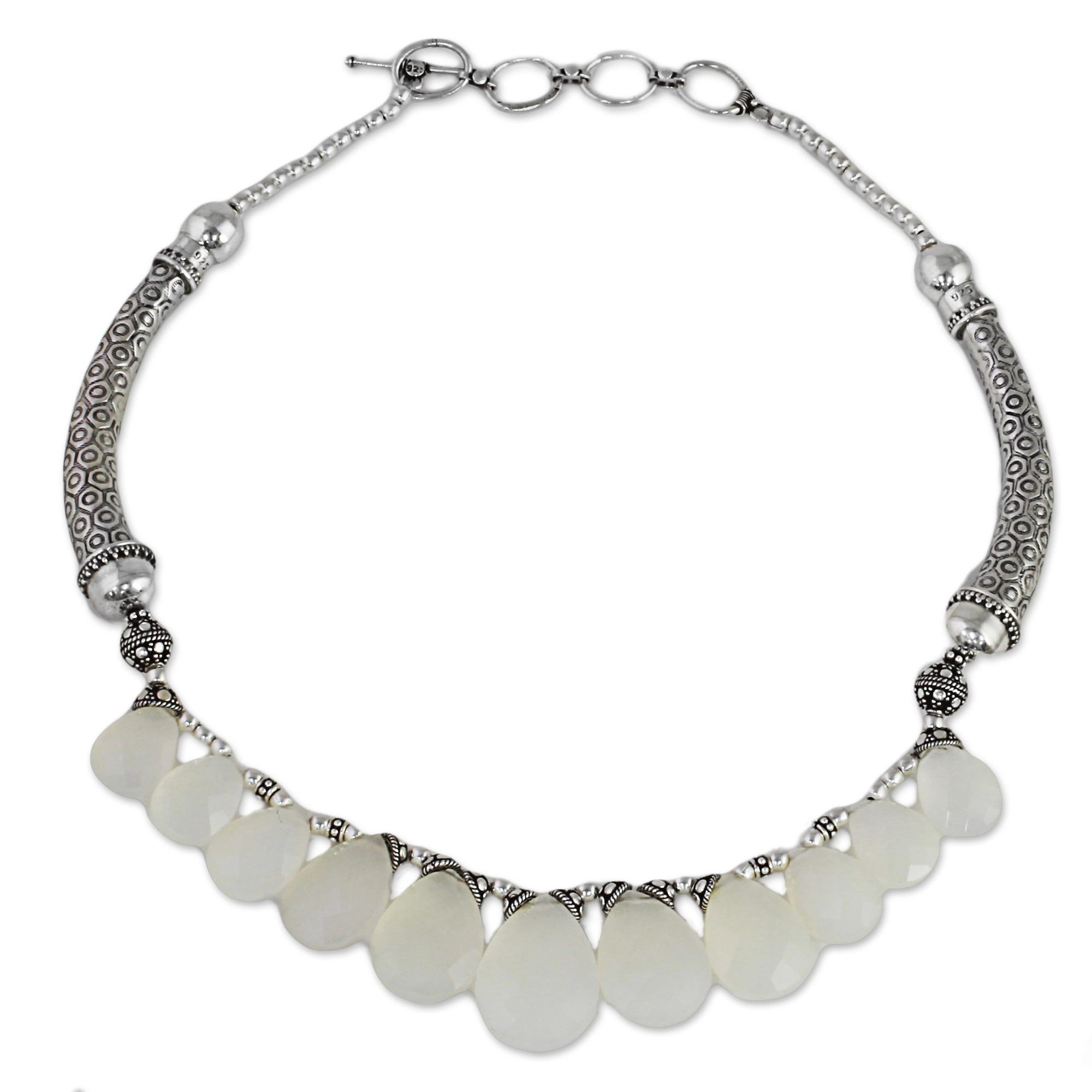 NOVICA Chalcedony .925 Sterling Silver Bridal Choker Necklace, 15.75'' 'White Petals'