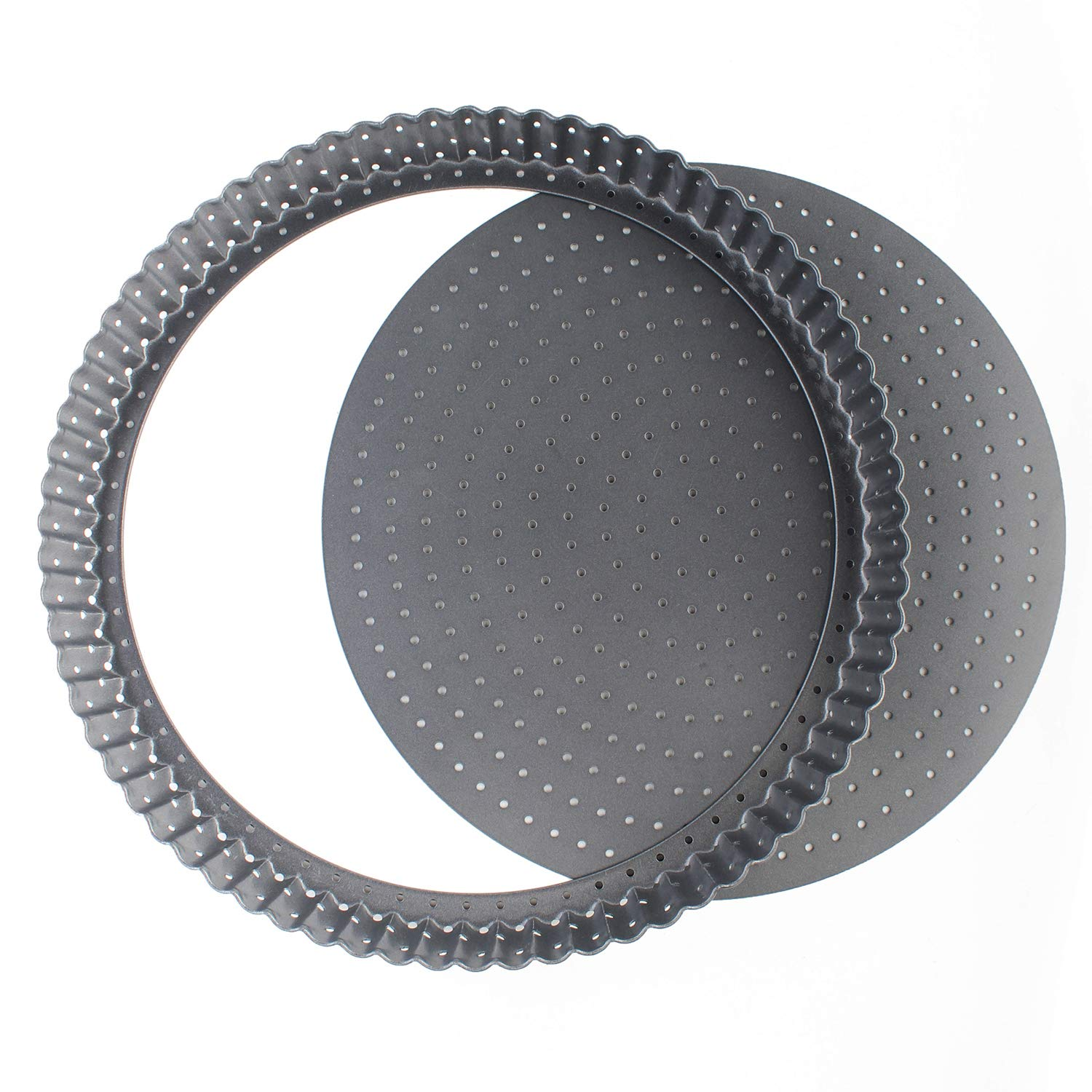 Vanly 11-Inch Perforated Quiche Tart Pan with Removable Base, Non-stick Loose Bottom Tart Pie Pizza Pan, Round Bakeware