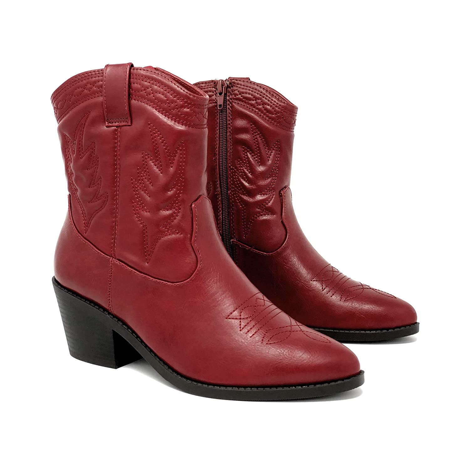 4671c724f2539 SODA Topshoeave Picotee Women Western Cowboy Cowgirl Stitched Ankle Boots