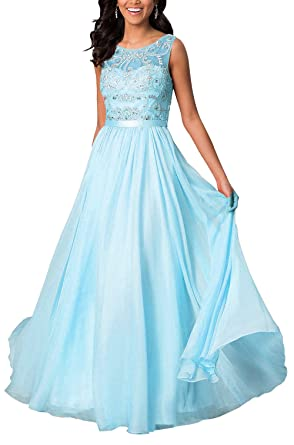 Zhongde Women\'s Modest A Line Beaded Prom Dress Evening Wedding ...