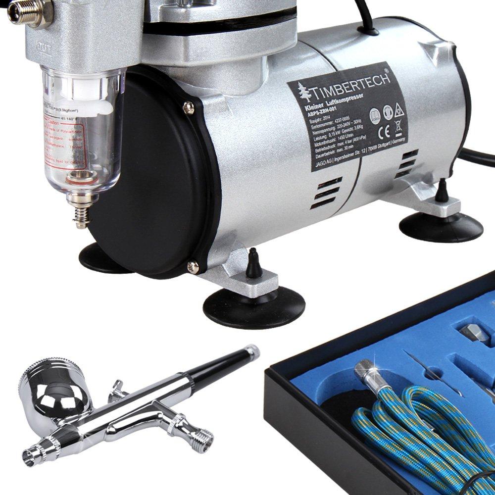 D/üsen, Schlauch etc. Double Action-Airbrush-Pistole und Zubeh/ör Timbertech Airbrush-Set mit Kompressor