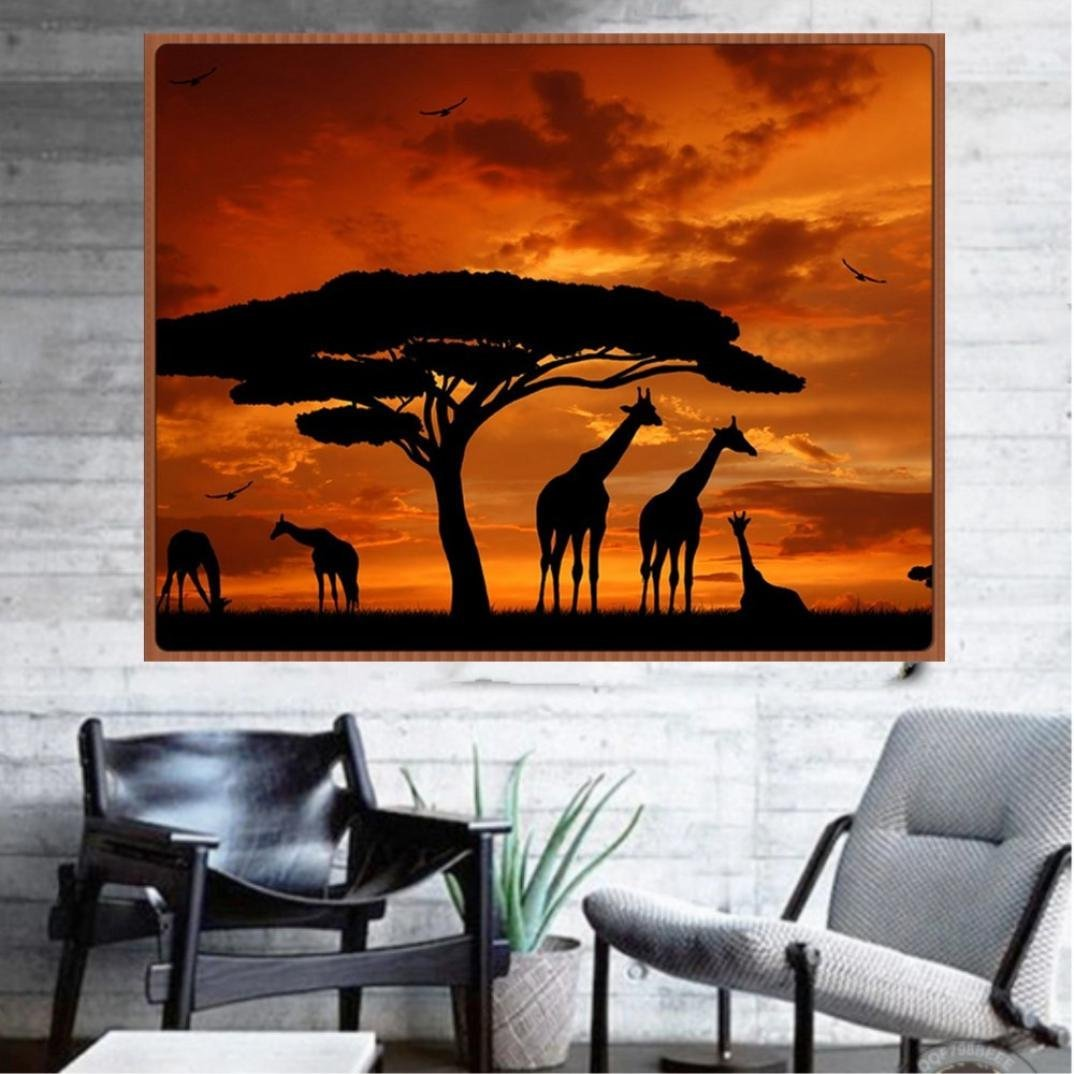 Keepwin DIY 5D Diamond Painting Kit Giraffe Embroidery Cross Stitch DIY Art Craft Home Wall Decor Gifts Multicolor
