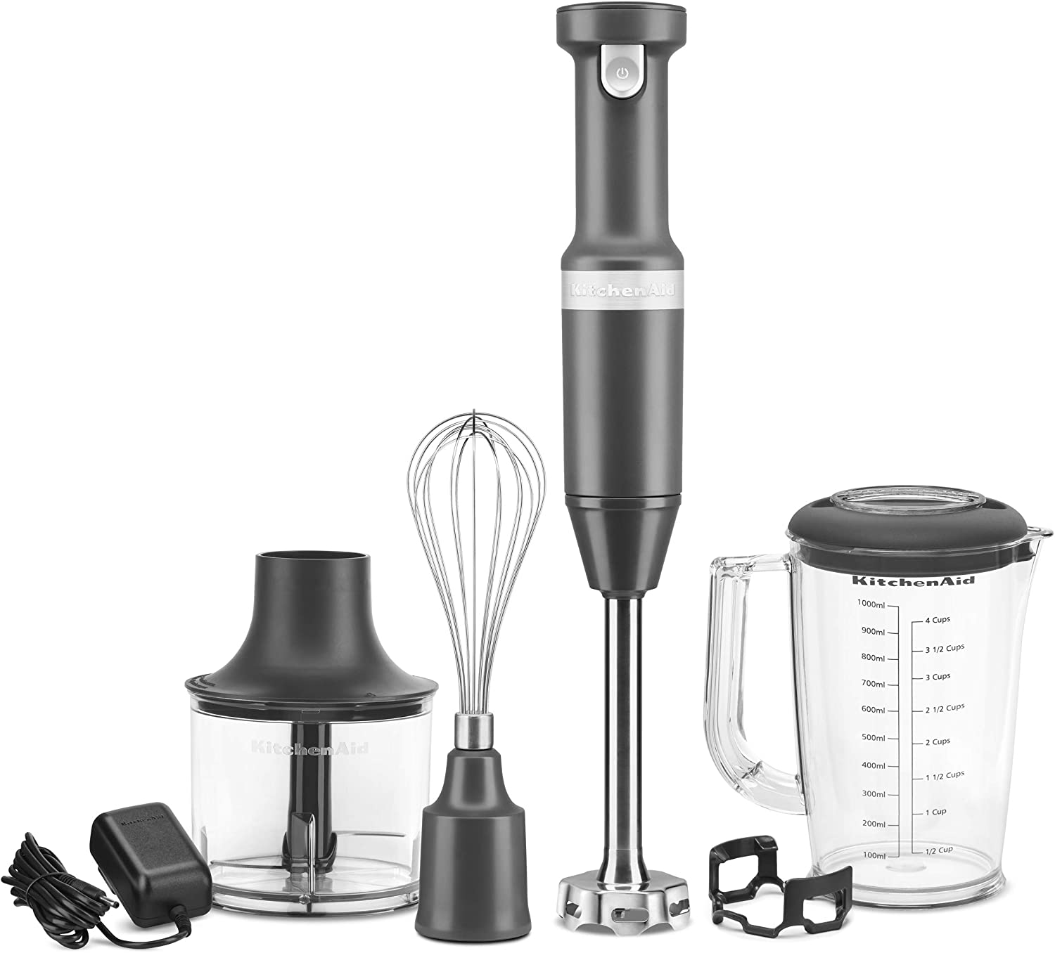 KitchenAid KHBBV83DG Cordless Variable Speed Hand Blender with Chopper and Whisk Attachment, Matte Charcoal Gray