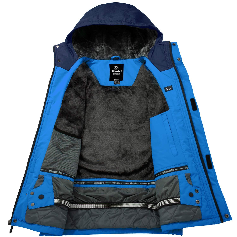 Wantdo Mens Windproof Ski Fleece Jacket Waterproof Parka Insulated Winter Coat