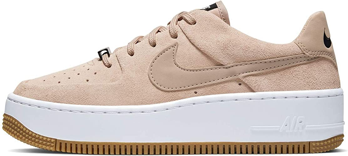 Nike Womens Air Force Sage Low Trainers (6, Bio BeigeBio Beige Black)