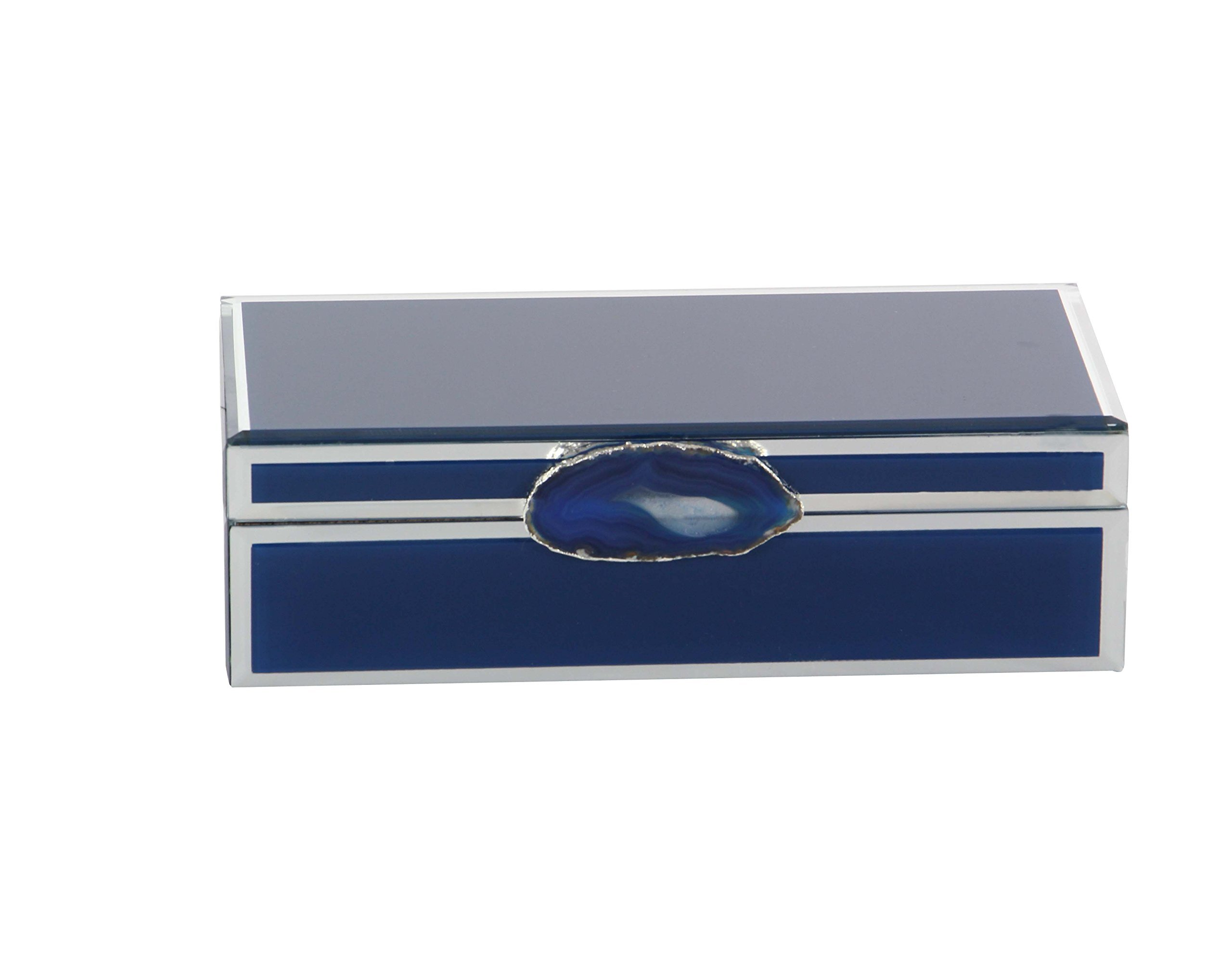 Deco 79 35734 Blue Wood and Glass Agate Jewelry Box, 3'' x 11'', Blue/Silver