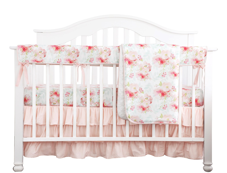 Sahaler Blush Mint Girls Crib Bedding Set Boho Bohemian Floral Nursery Baby Bedding Crib Sheet Floral Ruffled Crib Skirt Crib Rail Cover (4 Pieces Set)