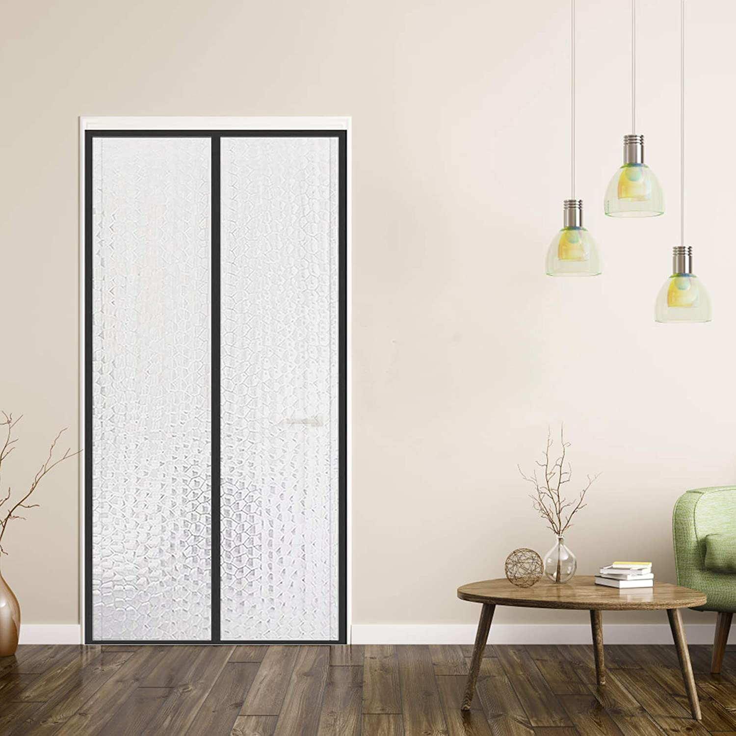 """YUFER Magnetic Thermal Insulated Curtain 32×80,EVA Thermal Door Cover - Thermal Screen Door for Air Conditioner Heater Room Home Kitchen Fits Doors Up to 32"""" x 80"""" MAX"""